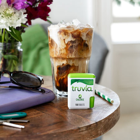 Truvia natural sweetener tablets displayed on a table