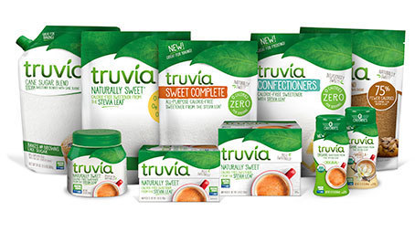 3D render of the entire family of Truvia product packages