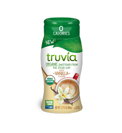 3D render of Truvia organic liquid sweetener in vanilla flavor