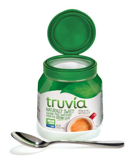 Truvia Spoonable Jar with the lid open