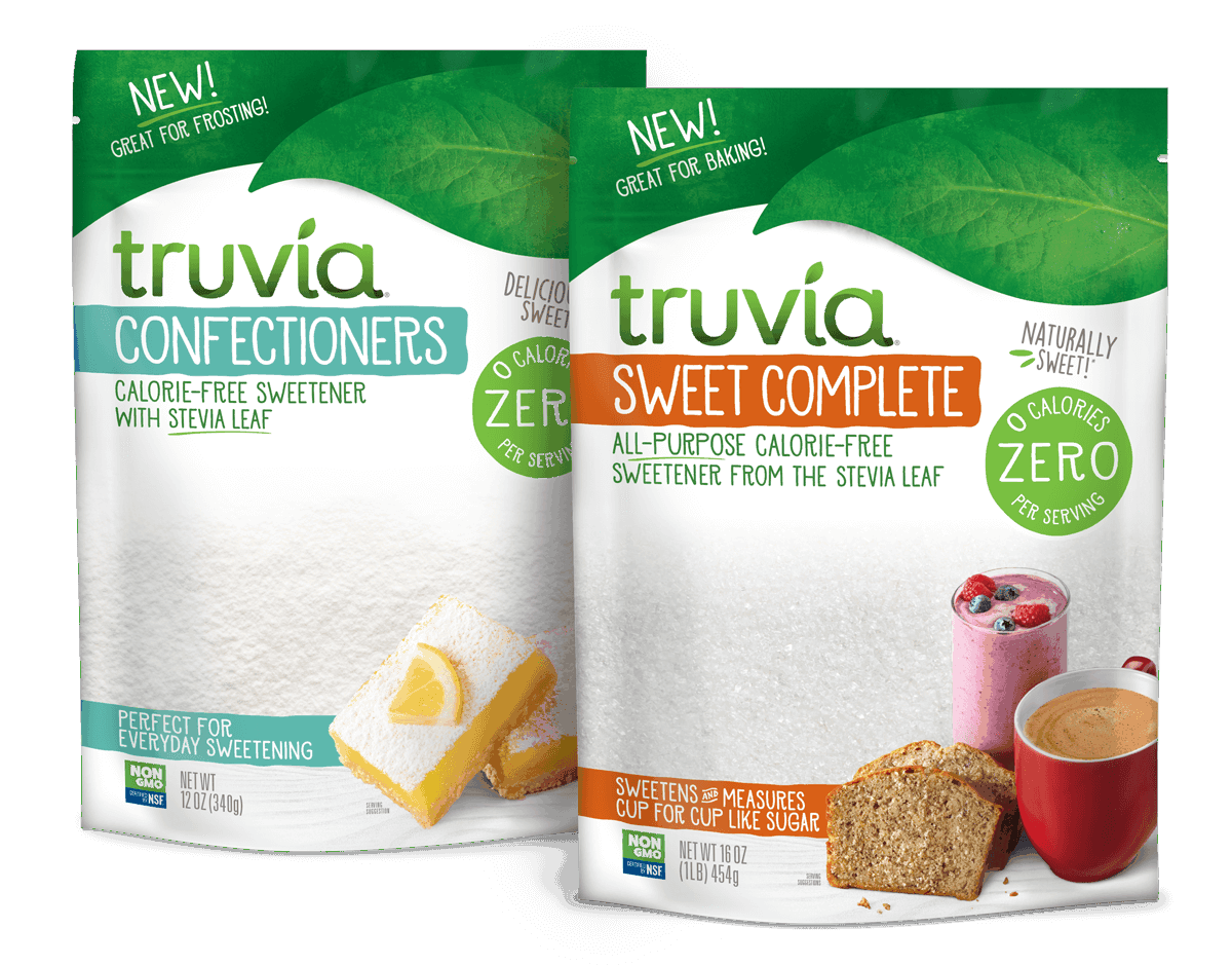 3D render of Truvia sweet complete and confectioners sweetener bags side by side