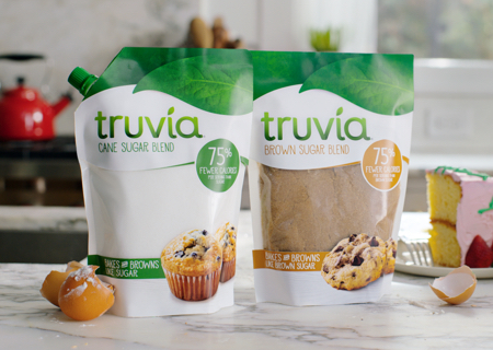 Truvia cane sugar blend and brown sugar blend bags on a kitchen counter