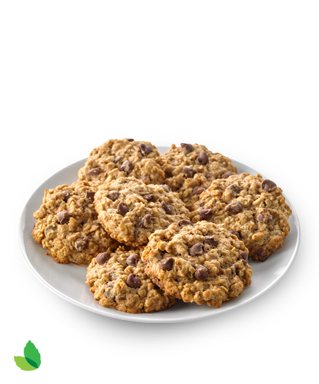 Plate of oatmeal chocolate chip cookies