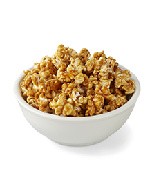 Bowl of golden brown caramel corn