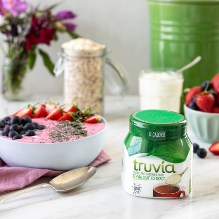 Truvia natural sweetener tub displayed on a table