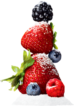 Stack of berries sprinkled with Truvia Natural Sweetener