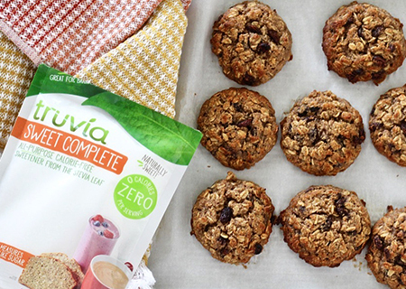 Bag of Truvia Sweet Complete sits next to a tray of oatmeal cookies.