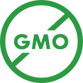 illustrated icon of the letters GMO with a strike through them