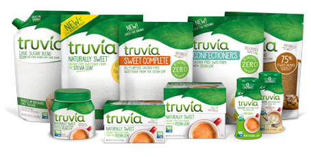 Layout of all the Truvia sweetener packages together on a transparent background