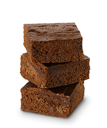Stack of three fudgy brownies