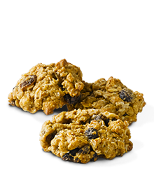 Three oatmeal raisin cookies